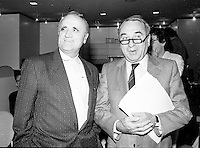 """August 27, 1987 File Photo - Montreal (Qc) Canada - Serge Losique (L) with  French producer Anatole Dauman (R) at 1987 Montreal  World Film Festival.<br /> <br />  He produced films by Jean-Luc Godard, Robert Bresson, Wim Wenders, Nagisa Oshima, Andrei Tarkovsky, Chris Marker, Volker Schlöndorff, Walerian Borowczyk, and Alain Resnais.<br /> <br /> He was a principal figure in Argos Films, a company that was a very important vehicle in creating opportunities for the """"Left bank"""" filmmakers to emerge from the overall Nouvelle Vague."""