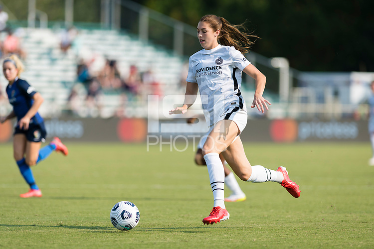 CARY, NC - SEPTEMBER 12: Morgan Weaver #22 of the Portland Thorns dribbles the ball during a game between Portland Thorns FC and North Carolina Courage at WakeMed Soccer Park on September 12, 2021 in Cary, North Carolina.