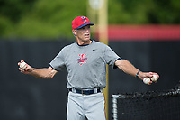 Elizabethton Twins manager Ray Smith (2) throws batting practice prior to the game against the Danville Braves at American Legion Post 325 Field on July 1, 2017 in Danville, Virginia.  The Twins defeated the Braves 7-4.  (Brian Westerholt/Four Seam Images)