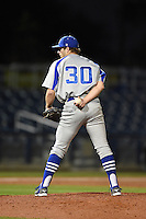 Indiana State Sycamores pitcher Jeremy McKinney (30) looks in for the sign during a game against the Vanderbilt Commodores on February 20, 2015 at Charlotte Sports Park in Port Charlotte, Florida.  Vanderbilt defeated Indiana State 3-2.  (Mike Janes/Four Seam Images)