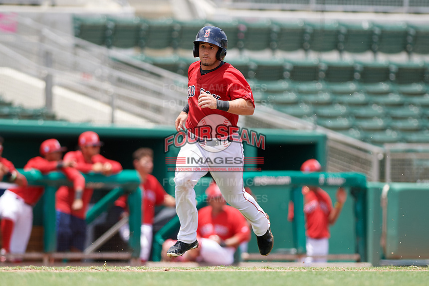 GCL Red Sox catcher Elih Marrero (50) runs home during a game against the GCL Rays on August 1, 2018 at JetBlue Park in Fort Myers, Florida.  GCL Red Sox defeated GCL Rays 5-1 in a rain shortened game.  (Mike Janes/Four Seam Images)