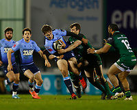 20th February 2021; Galway Sportsgrounds, Galway, Connacht, Ireland; Guinness Pro 14 Rugby, Connacht versus Cardiff Blues; Max Llewellyn (Cardiff Blues) holds off a challenge from Jack Carty (Connacht)