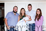 Caoimhe Fleming Currow celebrated her christening with her parents Ciara Tangney and John Paul Fleming and god parents Patsy Fleming and Niamh Tangney
