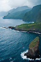 An aerial view of the north shore of Moloka'i with a islet topped with loulu palm trees.