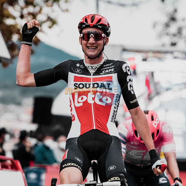 Tim Wellens (BEL) Lotto-Soudal outsprints Michale Woods (CAN) EF Pro Cycling to win Stage 14 of the Vuelta Espana 2020, running 204.7km from Lugo to Ourense, Spain. 4th November 2020.<br /> Picture: Unipublic/BaixauliStudio | Cyclefile<br /> <br /> All photos usage must carry mandatory copyright credit (© Cyclefile | Unipublic/BaixauliStudio)