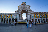 LISBON, PORTUGAL - June 8: A general view of Comercio Square in Lisbon, on June 8, 2021. <br /> Tourists anticipated trips from Lisbon to the U.K. They decided to return early so they wouldn't have to quarantine. since the new rules were announced for those traveling from Portugal to the UK. <br /> (Photo by Luis Boza/VIEWpress)