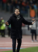 Football Soccer: UEFA Champions League  Round of 16 Second Leg, AS Roma vs FC Shakhtar Donetsk, Stadio Olimpico Rome, Italy, March 13, 2018. <br /> Roma's coach Eusebio Di Francesco speaks to his players during the Uefa Champions League football soccer match between AS Roma and FC Shakhtar Donetsk at Rome's Olympic stadium, March 13, 2018.<br /> UPDATE IMAGES PRESS/Isabella Bonotto