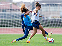 CLEVELAND, OH - SEPTEMBER 14: Casey Krueger defends Carli Lloyd of the United States during a training session at the training fields on September 14, 2021 in Cleveland, Ohio.