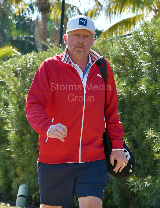 KEY BISCAYNE, FL - APRIL 02: (EXCLUSIVE COVERAGE)  Novak Djokovic practices with his coach Boris Becker on day 11 of the Miami Open at Crandon Park Tennis Center on April 2, 2015 in Key Biscayne, Florida<br /> <br /> <br /> People:  Boris Becker<br /> <br /> Transmission Ref:  FLXX<br /> <br /> Must call if interested<br /> Michael Storms<br /> Storms Media Group Inc.<br /> 305-632-3400 - Cell<br /> 305-513-5783 - Fax<br /> MikeStorm@aol.com