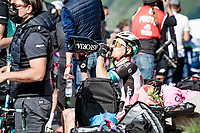Christopher Juul-Jensen (DEN/BikeExchange) sipping of teammate Simon Yates' victory champagne post-race<br /> <br /> 104th Giro d'Italia 2021 (2.UWT)<br /> Stage 19 from Abbiategrasso to Alpe di Mera (Valsesia)(176km)<br /> <br /> ©kramon