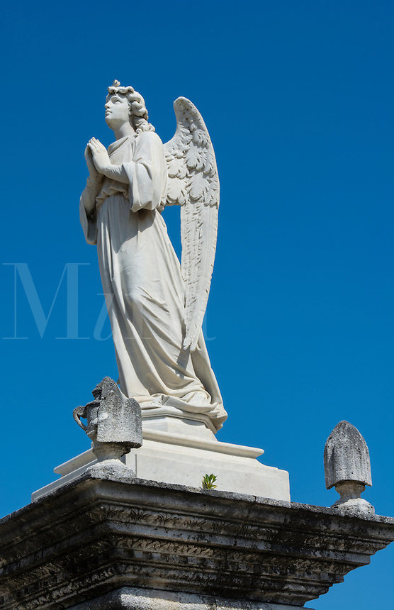Cienfuegos Cuba close up of angel in old beautiful cemetery called The Queen in 1839 also called General Cemetery with graves and statues