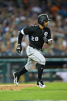 Leury Garcia (28) of the Chicago White Sox hustles down the first base line against the Detroit Tigers at Comerica Park on June 2, 2017 in Detroit, Michigan.  The Tigers defeated the White Sox 15-5.  (Brian Westerholt/Four Seam Images)