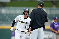 DJ Poteet (4) of the Wake Forest Demon Deacons rounds third base after hitting a 3-run home run against the Furman Paladins at BB&T BallPark on March 2, 2019 in Charlotte, North Carolina. The Demon Deacons defeated the Paladins 13-7. (Brian Westerholt/Four Seam Images)
