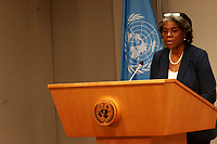 NEW YORK, NY - MARCH 1: US Ambassador to the United Nations Linda Thomas-Greenfield attends a Press Briefing by the President of the Security Council at the United Nations in New York City on March 1, 2021. Credit: mpi43/MediaPunclh