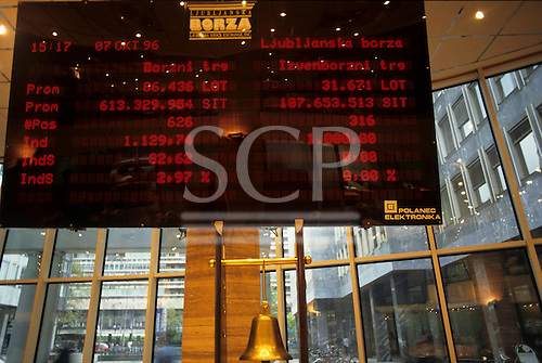 Ljubljana, Slovenia. Stock exchange - board with red writing.