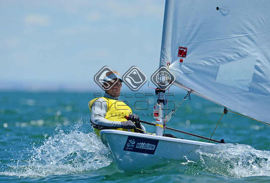 Medal race - Laser / tOM bUTRON (AUS) GOLD<br /> 2013 ISAF Sailing World Cup - Melbourne<br /> Sail Melbourne - The Asia Pacific Regatta<br /> Sandringham Yacht Club, Victoria<br /> December 1st - 8th 2013<br /> © Sport the library / Jeff Crow
