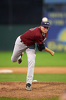 Mahoning Valley Scrappers starting pitcher Ryan Colegate (27) during the second game of a doubleheader against the Batavia Muckdogs on August 17, 2016 at Dwyer Stadium in Batavia, New York.  Batavia defeated Mahoning Valley 5-3.  (Mike Janes/Four Seam Images)