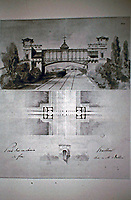 Bridge over a Railway designed by Charles August Huillard. Concours 1852, first prize. Artist.