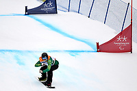 Day 7 / Snowboard banked SL. / Ben Tudhope  (AUS)<br /> PyeongChang 2018 Paralympic Games<br /> Australian Paralympic Committee<br /> PyeongChang South Kore<br /> Friday March 16th 2018<br /> © Sport the library / Jeff Crow
