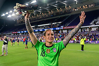 ORLANDO, FL - MARCH 05: Ashlyn Harris #18 of the United States waves the crowd during a game between England and USWNT at Exploria Stadium on March 05, 2020 in Orlando, Florida.
