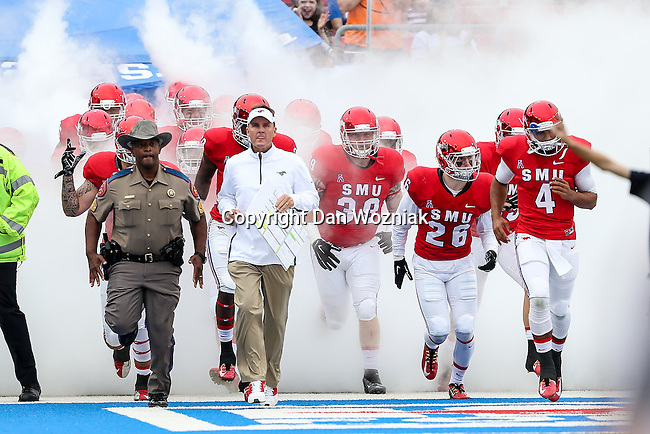 Southern Methodist Mustangs head coach Chad Morris in action during the game between the Tulsa Golden Hurricanes and the SMU Mustangs at the Gerald J. Ford Stadium in Dallas, Texas.