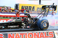 Aug 29, 2014; Clermont, IN, USA; NHRA top fuel dragster driver Cory McClenathan during qualifying for the US Nationals at Lucas Oil Raceway. Mandatory Credit: Mark J. Rebilas-USA TODAY Sports