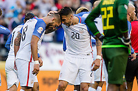 Seattle, WA - Thursday, June 16, 2016: United States forward Clint Dempsey (8) and United States defender Geoff Cameron (20) during the Quarterfinal of the 2016 Copa America Centenrio at CenturyLink Field.
