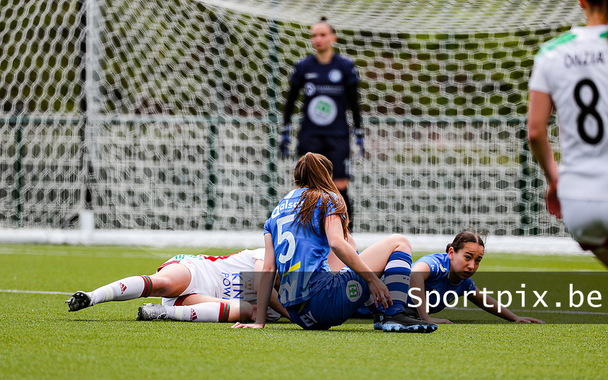 during a female soccer game between Oud Heverlee Leuven and AA Gent Ladies on the 9 th matchday of play off 1 in the 2020 - 2021 season of Belgian Womens Super League , saturday 22 nd of May 2021  in Heverlee , Belgium . PHOTO SPORTPIX.BE   SPP   SEVIL OKTEM