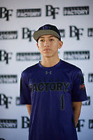Jonathan Lucio (1) of John F. Kennedy High School in Granada Hills, California during the Baseball Factory All-America Pre-Season Tournament, powered by Under Armour, on January 12, 2018 at Sloan Park Complex in Mesa, Arizona.  (Zachary Lucy/Four Seam Images)