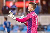 SAN JOSE, CA - MAY 01: JT Marcinkowski #1 of the San Jose Earthquakes prepares to distribute the ball during a game between San Jose Earthquakes and D.C. United at PayPal Park on May 01, 2021 in San Jose, California.
