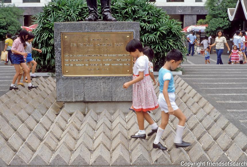 Hong Kong: Street design--kids walking around statue. Photo '82.