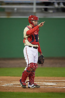Potomac Nationals catcher Jake Lowery (4) during the second game of a doubleheader against the Salem Red Sox on May 13, 2017 at G. Richard Pfitzner Stadium in Woodbridge, Virginia.  Potomac defeated Salem 3-2.  (Mike Janes/Four Seam Images)