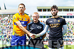 Gary Brennan Clare Referee Barry CAassidy and Shane Murphy at the Munster GAA Football Senior Championship semi-final match between Kerry and Clare at Fitzgerald Stadium in Killarney on Sunday.