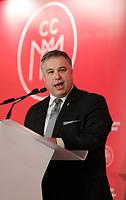 Conference de Sebastien Proulx, Ministre de l'Education, du Loisir et du Sport, Ministre responsable de la region de la Capitale-Nationale, a la tribune de la Chambre de Commerce du Montreal metropolitain, le Vendredi 16 février 2018, au Sheraton.<br /> <br /> PHOTO :  Agence Quebec Presse