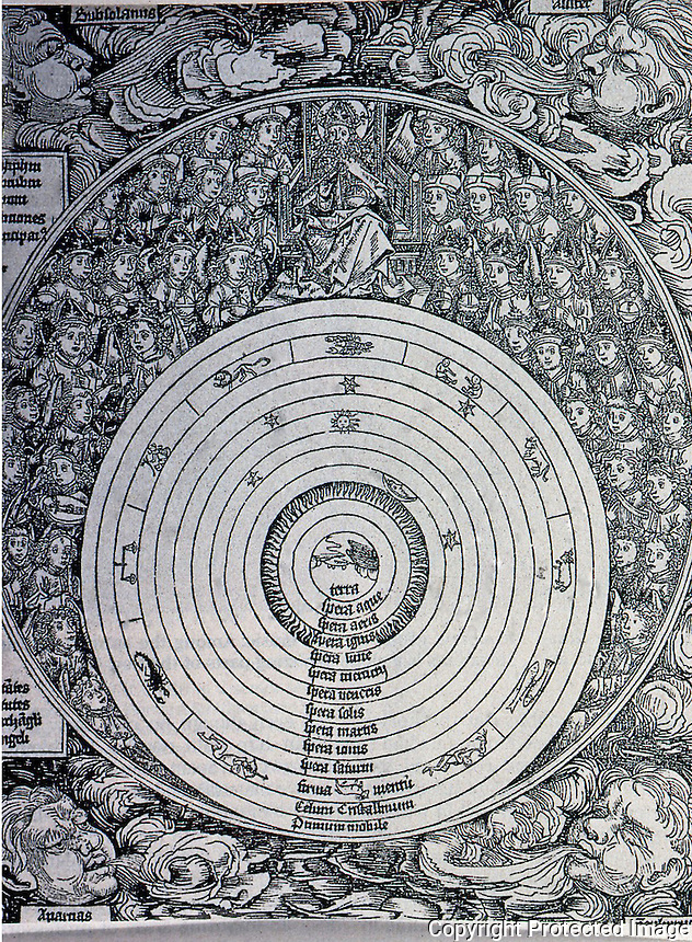 Science:  Geocentric Universe.  In the outermost circle are depicted God and the Ranks of Angels and the Elect.  NUREMBERG CHRONICLE, 1993, a world history.