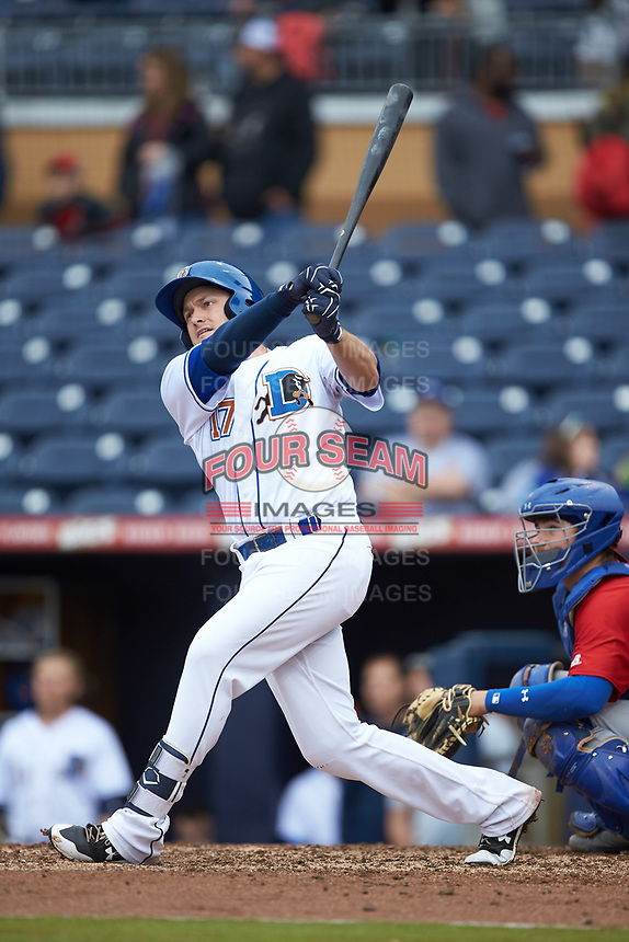 Jason Coats (17) of the Durham Bulls follows through on his swing against the Buffalo Bison at Durham Bulls Athletic Park on April 25, 2018 in Allentown, Pennsylvania.  The Bison defeated the Bulls 5-2.  (Brian Westerholt/Four Seam Images)