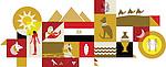 Illustrative collage of Egypt over white background