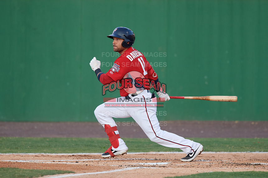 Potomac Nationals Austin Davidson (11) at bat during a Carolina League game against the Myrtle Beach Pelicans on August 14, 2019 at Northwest Federal Field at Pfitzner Stadium in Woodbridge, Virginia.  Potomac defeated Myrtle Beach 7-0.  (Mike Janes/Four Seam Images)