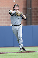 Western Michigan Broncos third baseman Gavin Doyle (12) makes a throw to first base against the Michigan Wolverines on March 18, 2019 in the NCAA baseball game at Ray Fisher Stadium in Ann Arbor, Michigan. Michigan defeated Western Michigan 12-5. (Andrew Woolley/Four Seam Images)