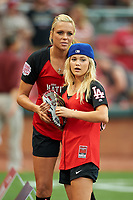 Softball legend Jennie Finch and Olivia Holt before the All-Star Legends and Celebrity Softball Game on July 12, 2015 at Great American Ball Park in Cincinnati, Ohio.  (Mike Janes/Four Seam Images)