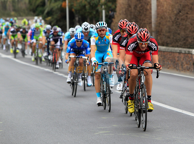 The 2nd group of chasing riders pass through the town of Pietra Ligure during the 298Km Milan-San Remo cycle race, 17th March 2012 (Photo by Eoin Clarke/NEWSFILE)