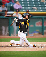 Nolan Fontana (4) of the Salt Lake Bees follows through on his swing against the Fresno Grizzlies during the Pacific Coast League game at Smith's Ballpark on April 17, 2017 in Salt Lake City, Utah. The Bees defeated the Grizzlies 6-2. (Stephen Smith/Four Seam Images)
