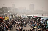 pre-race teambus busyness<br /> <br /> 103rd Ronde van Vlaanderen 2019<br /> One day race from Antwerp to Oudenaarde (BEL/270km)<br /> <br /> ©kramon