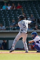 Peoria Javelinas shortstop Lucius Fox (5), of the Tampa Bay Rays organization, at bat in front of P.J. Higgins (12) during an Arizona Fall League game against the Mesa Solar Sox at Sloan Park on October 11, 2018 in Mesa, Arizona. Mesa defeated Peoria 10-9. (Zachary Lucy/Four Seam Images)