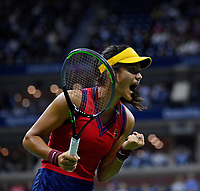 10th September 2021: Billie Jean King Centre, New York, USA: USA Open tennis championships, womens singles semi-final Emma Raducanu versus Maria Sakkari: Raducanu celebrates a game point