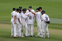 Sussex players congratulate Will Beer after taking the wicket of Glamorgan's Dan Douthwaite during Sussex CCC vs Glamorgan CCC, LV Insurance County Championship Group 3 Cricket at The 1st Central County Ground on 5th July 2021