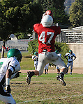 Football action. Wide receiver leaps to catch a pass.