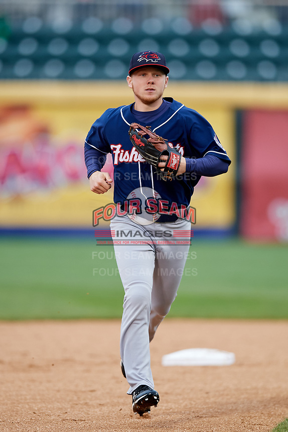 New Hampshire Fisher Cats right fielder Andrew Guillotte (1) runs off the field during the second game of a doubleheader against the Harrisburg Senators on May 13, 2018 at FNB Field in Harrisburg, Pennsylvania.  Harrisburg defeated New Hampshire 2-1.  (Mike Janes/Four Seam Images)