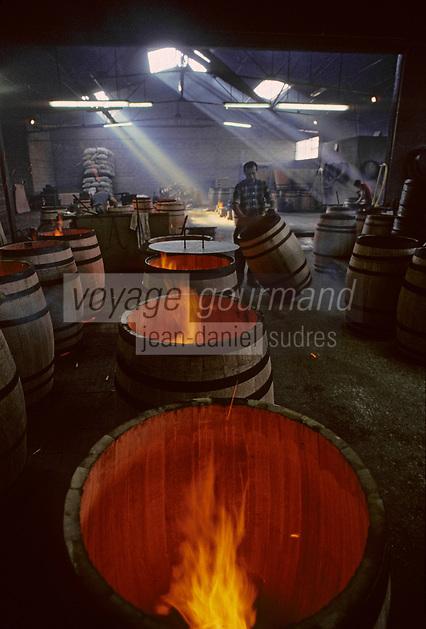 Europe/France/Poitou-Charentes/16/Charente/Cognac/Tonnellerie Seguin Moreau: Chauffe et bousinage [Non destiné à un usage publicitaire - Not intended for an advertising use]<br /> PHOTO D'ARCHIVES // ARCHIVAL IMAGES<br /> FRANCE 1990