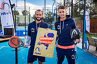 Netherlands, September 6,  2020, Amsterdam, Padel Dam, NK Padel, National Padel Championships, Men's doubles final: Winners Uriël Maarsen (NED) and Bram Meijer (NED) (L)<br /> Photo: Henk Koster/tennisimages.com